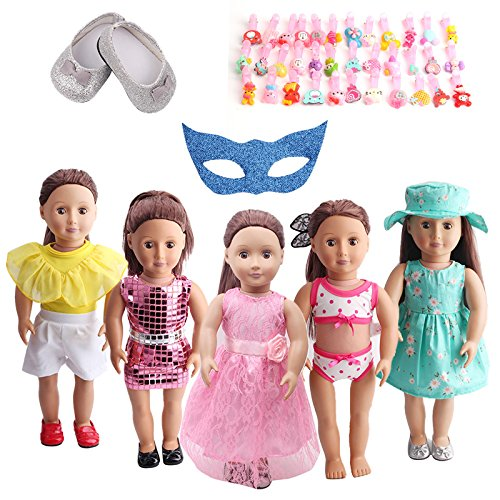 IUTOYYE American Girl Doll Clothes LOT8 =5 Daily Costumes Gown Clothes+ 1 Shoes + 10 Hair Clips + 1 Glasses fit for American Girl 18 inches Dolls