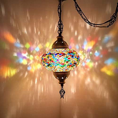8 Colors DEMMEX Turkish Moroccan Mosaic Swag Plug in Pendant Ceiling Hanging Light with 15feet Cord Decorated Chain North American Plug Multicolor – 6 Diameter