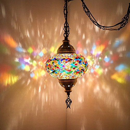 - (8 Colors) DEMMEX Turkish Moroccan Mosaic Swag Plug in Pendant Ceiling Hanging Light with 15feet Cord Decorated Chain & North American Plug (Multicolor - 6
