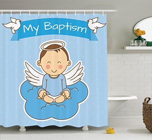 Ambesonne Baptism Decorations Collection, Baby with Wings on a Cloud Boy Baptism Remembrance Family Love Life Joyful Design, Polyester Fabric Bathroom Shower Curtain Set with Hooks, Blue -