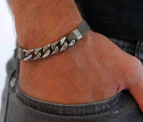 Handmade Cuff Gray Genuine Leather Bracelet For Men Set With Silver Plated Chain By Galis Jewelry - Chain Bracelet For Men - Cuff Bracelet For Men - Jewelry For Men