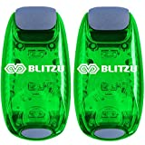 running stroller tires - BLITZU Cyborg LED Safety Light 2 Pack + Free Bonuses - Clip On Running Lights Runner, Kids, Joggers, Bike, Dogs, Walking The Best Accessories Your Reflective Gear, Nighttime, Bicycle (Green)