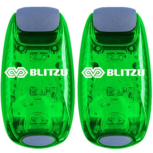BLITZU Cyborg LED Safety Light 2 Pack - Clip On Running Lights Runner, Kids, Joggers, Bike, Dogs, Walking Walkers Accessories Track Reflective Run Gear, Night time, Bicycle Green