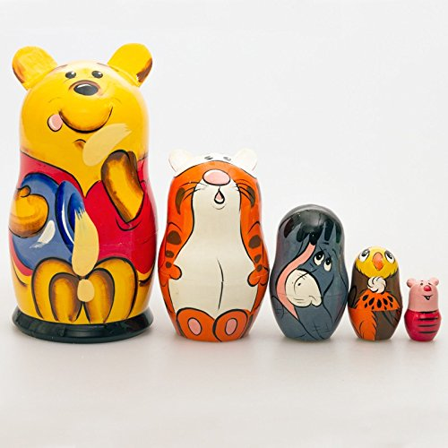 Winnie Pooh Bear, Tigger, Piglet, Owl Russian Matryoshka Nesting Wooden Doll, 7.5 inches, 5 pieces