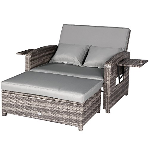 Cloud Mountain 2 PC Outdoor PE Rattan Wicker Patio Loveseat and Ottoman Furniture Set Lounge - Wicker Ottoman Patio