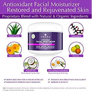 Organic Anti-aging Face Moisturizer Cream For Dry Sensitive Skin With Hydrating Coconut Oil Shea Butter Rosehip Vitamins Natural Anti-Wrinkle Facial Repair Lotion Night & Day Care Women Men Non Greasy