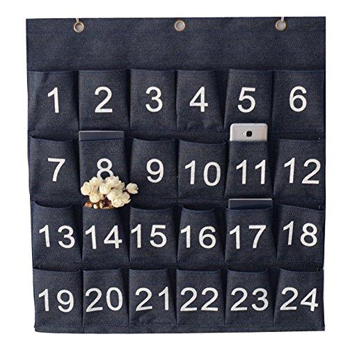 Ozzptuu Denim 24 Pockets Numbered Pocket Chart Hanging Storage Holder for Cell Phones with 3 Hooks (Denim Three Pocket)