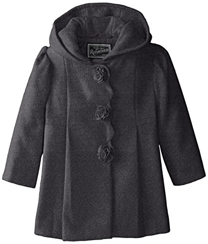 Rothschild Little Girls' Rosette Faux Wool Coat Toddler, Dark Charcoal, 2T (Wool Charcoal Dark)