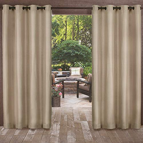 Exclusive Home Curtains Biscayne Indoor/Outdoor Two Tone Textured Window Curtain Panel Pair with Grommet Top, 54x96, Sand, 2 -