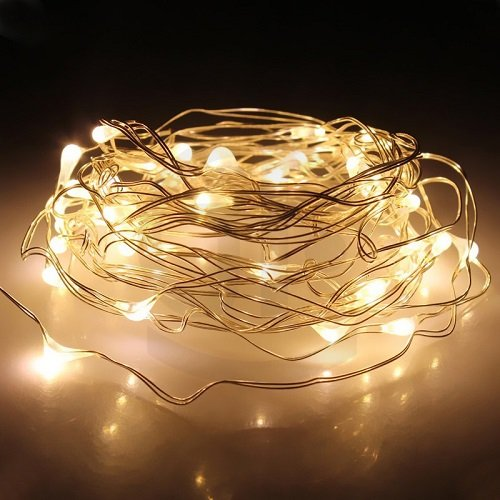 String Lights, SOKATON 10ft/3m Warm White 30 LED Starry String Lights Battery Operated Super Bright Led Rope Lights Copper Wire Lights for Christmas Wedding Bedroom Vintage Windows Seasonal Decorative