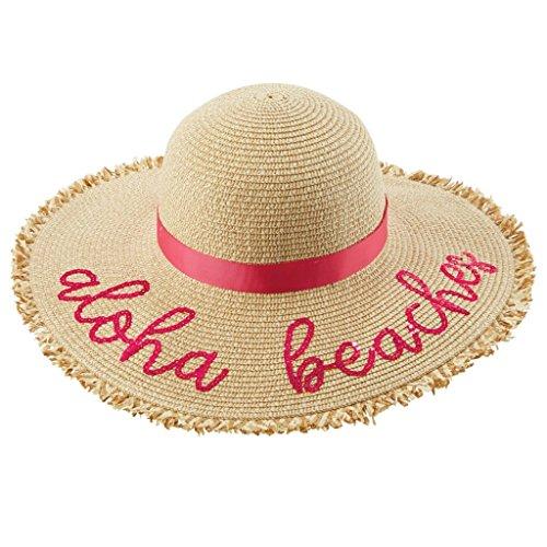 Mud Pie Fashion - Mud Pie Women's Fashion Summer Sequin Paper Straw Sun Hat (Aloha Beaches (Pink))