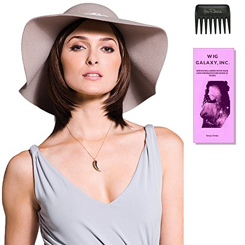 Halo Bob Top Piece by Amore, Wig Galaxy Hair Loss Booklet, Wide Tooth Comb (Bundle - 3 Items), Color Chosen: Creamy Toffee ()