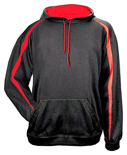 Badger Mens Fusion Hooded Fleece (1467) -CARBON/RED -XL