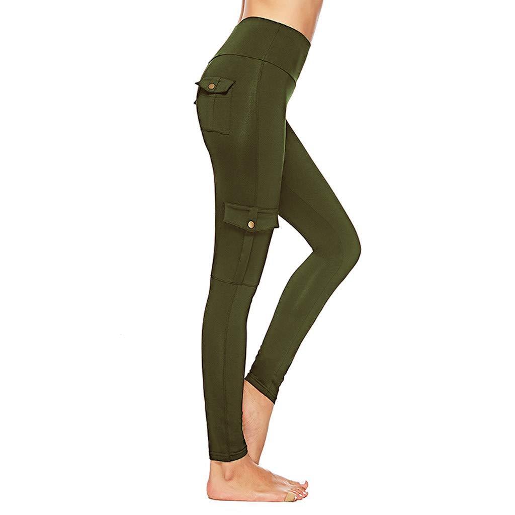 ♥Women\'s High Waist Yoga Pants,Ladies Tummy Control Bottom-up Pocket Buttons Workout Running Trouser Yoga Leggings