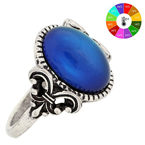 Gothic Flower Pattern Antique Sterling Silver Plating Oval Stone Color Change Mood Ring MJ-RS008 (9) (Stone Color Ring Sterling Silver)