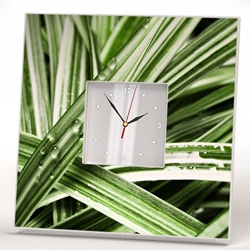 Water Drops on Green Grass Wall Clock Mirror Printed Art Rain Design Rustic Style Home Decor Gift
