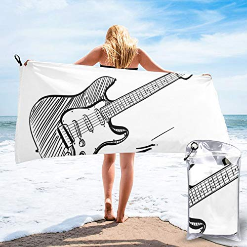 Hand Drawn Style Electric Guitar On White Backdrop Rock Music Accords Sketch Art Bath Swimming Pool Yoga Pilates Picnic Blanket Beach Towels 27.5