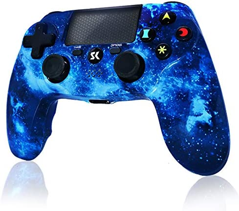 PS4 Controller Wireless Gamepad for Playstation 4/Pro/Slim/PC and Laptop with Motion Motors, Audio Function, Mini LED Indicator, USB Cable and Anti-Slip - Blue