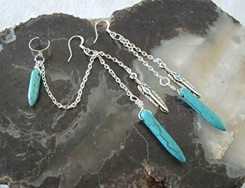 Turquoise Earrings, handmade jewelry boho bohemian hippie gypsy new age ear cuff