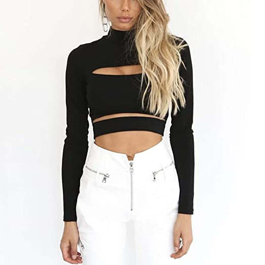 887263b468510b Women s Mock Neck Long Sleeve Cut Out Open Front Crop Tops Casual Tee  Blouse Black