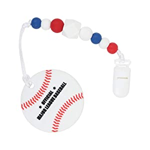 Baby Sport Teething Toys - BPA Free - Effectively Relieve Teething Pain for Infant - Silicone Teether Toys with Beads Pacifier Clip Holder-Freezer Safe Teething Egg for Boy and Girl (Baseball)