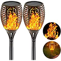 EZONEDEAL Solar Lights Outdoor Waterproof IP65,Dancing Flickering Flames Torches Lights,43 inch 96 LED,with Auto On/Off…