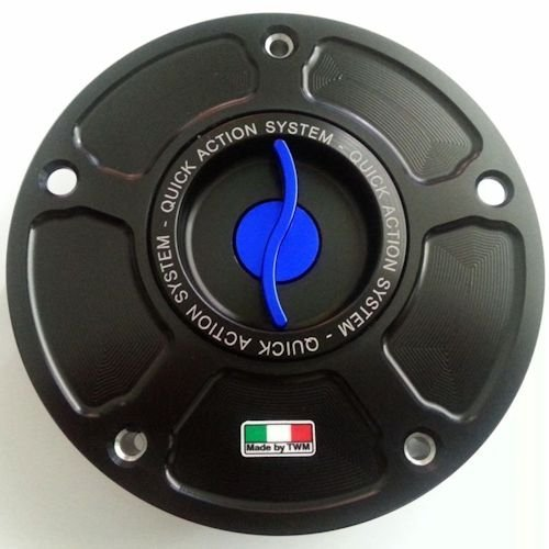 TWM Quick Action CNC Billet Fuel Gas Cap with Blue Handle fits Honda CBR 600 900 1000 RR F HORNET CB R VTR