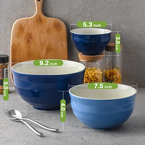 DOWAN Ceramic Mixing Bowls, Serving Bowl Set, Non Slip and Beautiful Outer Design, 0.5 Quart 2 Quart 3.2 Quart, Cooking Supplies, Blue