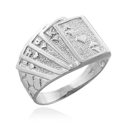 Men's 925 Sterling Silver Lucky Nugget Band Royal Flush of Hearts Poker Ring (Size 11.25) - Playing Cards Ring