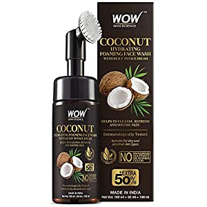 WOW Skin Science Coconut Hydrating Foaming Face Wash with Built-In Face Brush – with Coconut Water – For Cleansing…