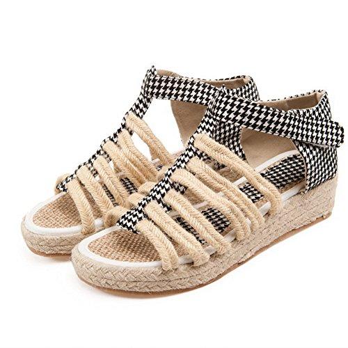 Allhqfashion Mujeres Material Suave Gancho Y Lazo Open Toe Low Heels Assorted Sandalias De Color Negro