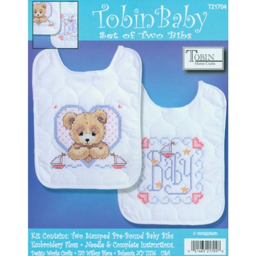 Tobin Bedtime Prayer Boy Bib Pair Stamped Cross Stitch Kit, 8 by 10-Inch, Set of 2 Set Needlepoint Kit