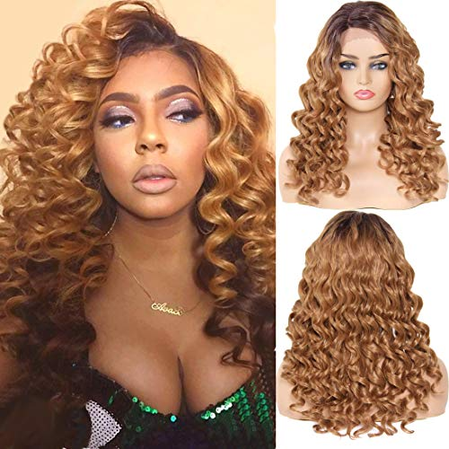 (YIROO Ombre Blonde Loose Curly Lace Front Synthetic Fiber Wigs for Women 20 inches With Natural Hairline 2 Tones 4/27 Color Deep L Part Hair High Density Wig (20inch, OT4/27))