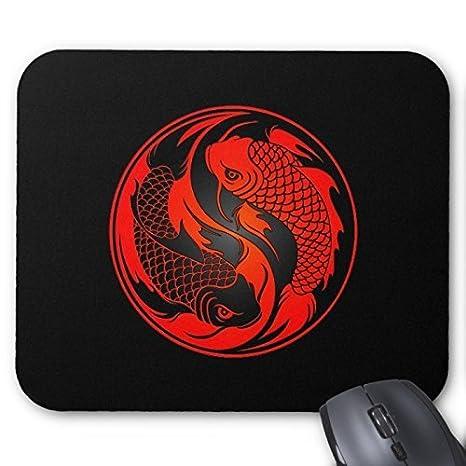 Rojo Y Negro Yin Yang Peces Koi Cojín De Ratón Amazones Hogar