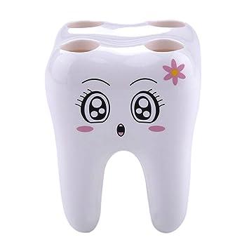 awakingdemi Novelty agujero 4 dientes estilo soporte para cepillos de dientes soporte recipiente para baño: Amazon.es: Hogar
