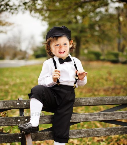 Victorian Kids Costumes & Shoes- Girls, Boys, Baby, Toddler Boys Vintage Dress Knicker Suit Set - Bowtie Suspenders Knickers Newsboy Hat 5pcs Set $38.48 AT vintagedancer.com