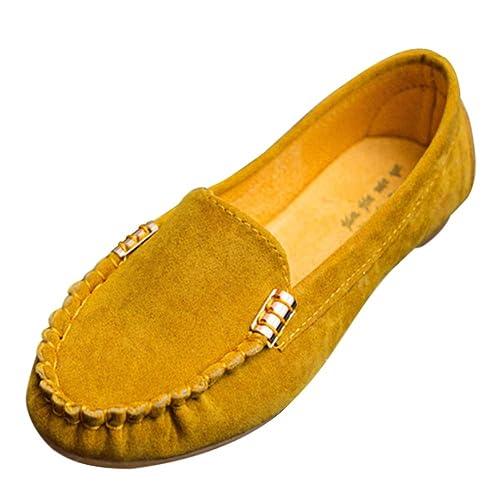 Tenthree para Mujer Gamuza Plano Mocasines Mocasines - Gamuza Bombas Señoras Superficial Perezoso Zapatos Conducir Trabajar Aparición Suave Suela Dolly ...