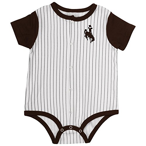 Wyoming Cowboys Pins - Infant Wyoming Cowboys Baseball Pinstripe Bodysuit Personalize with Your Name - 3 to 6 Months