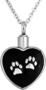 LovelyJewelry Pet Urn Necklace Dog/Cat Paw Cremation Black Cylinder Keepsake Memorial Necklace Ash Holder