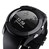 m-fit Micromax Unite 4 Pro Compatible Bluetooth smartwatch / Wrist Watch (V8 Black) with Sim Card Support for High Quality Calling | Facebook and WhatsApp | Touch Screen | Multilanguage | Activity Trackers | Fitness Band Features | Video Recording | Phone Book | Smartwatch Phone with Camera TF SIM Card Slot | Compatible with 2G 3G 4G Android Mobile Phones & IOS phones.
