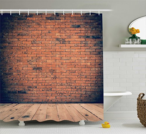 Ambesonne Vintage Decor Collection, Old Fashioned Bricks in Dark Room with Antique Wood Floor Vintage Ancient Retro Room Decor, Polyester Fabric Bathroom Shower Curtain Set with Hooks, Red by Ambesonne (Image #1)
