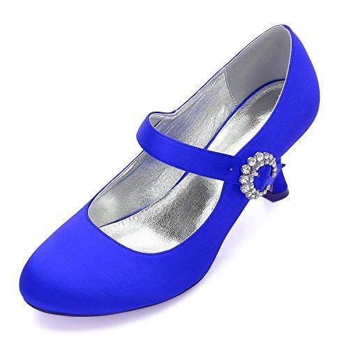 L@YC Boda de Las Mujeres 17061-26 Cerrado Dedo del Pie del Alto Talón Mary Jane Bombas Hebilla del Cordón del Satén Boda Nupcial Zapatos de La Corte Blue