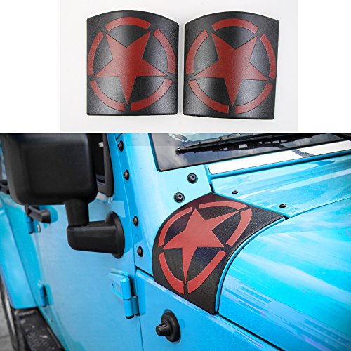 KUJOOY ABS Dark Red Cowl Body Armor Cover Decor Trim for Jeep Wrangler 2007-2016