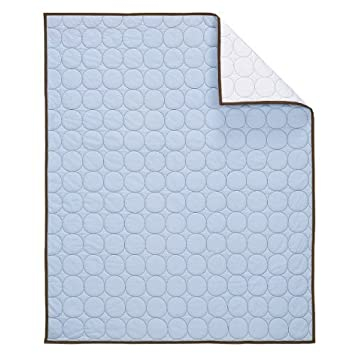 Amazon Com Bacati Quilted Circles Blue And Chocolate Crib Quilt Nursery Quilts Baby