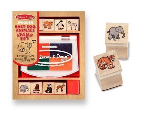 (Baby Zoo Animals Themed Wooden Stamp Set + FREE Melissa & Doug Scratch Art Mini-Pad Bundle [16384])