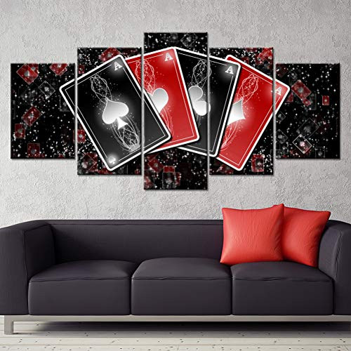 HIOJDWA Paintings 5 Piece Printed Canvas Painting Playing Cards Poker Home Decor Print Poster Framework Wall Art ()