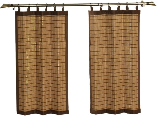- Bamboo Ring Top Curtain BRP07 2-Piece 48-Inch Wide x 36-Inch High Tier set, Colonial Brown