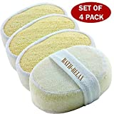 Image of Exfoliating Loofah Bath Sponge Pads Pack Of 4 - Ultra Thick, Great For Exfoliating Shower - 100% Natural - Best Luffa Sponge And Spa Scrubber For Men And Women - Body wash sponge