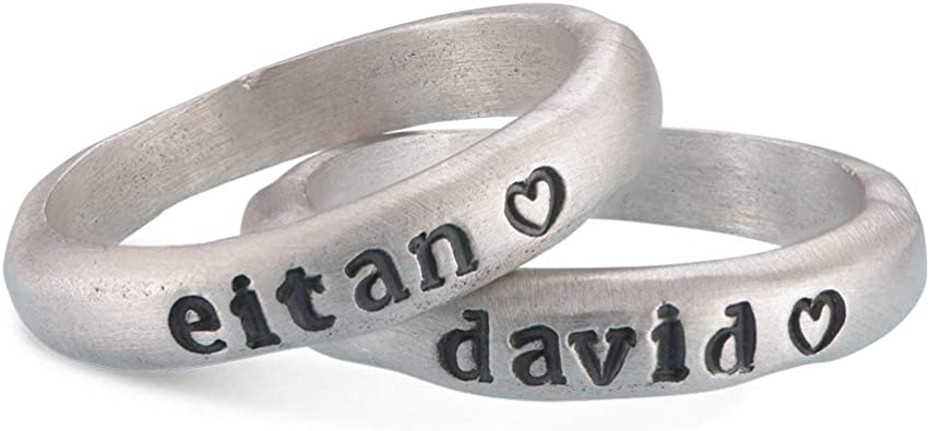 Forever My Personalized Stamped Custom Name Stacking Ring Bridal Mom Jewelry Gift