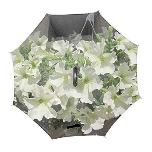 Petunia Flowers Snow-White Pots Height Large Inverted Double Layer Reverse Folding Umbrella - C-Shape Hands-Free Handle for Car Rain Sun